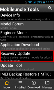 Mobileuncle MTK Tools, Recovery Update